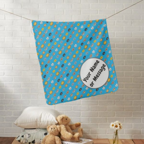 baby blanket animal friends party cute customizable blue lifestyle