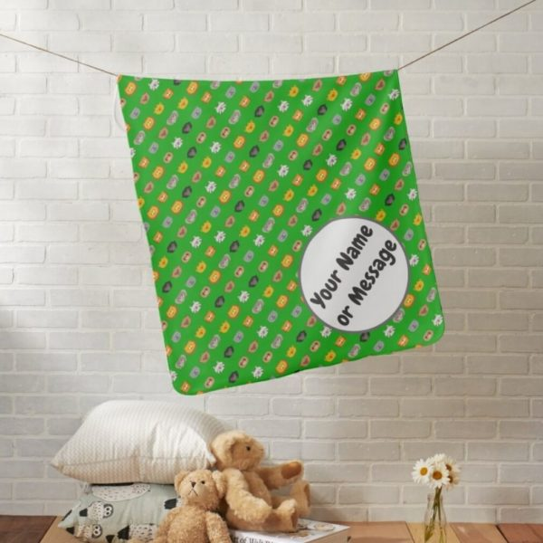 baby blanket animal friends party cute customizable green lifestyle