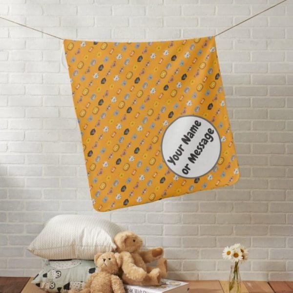 baby blanket animal friends party cute customizable orange lifestyle