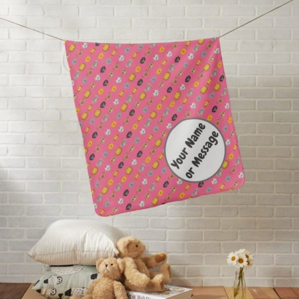 baby blanket animal friends party cute customizable pink lifestyle