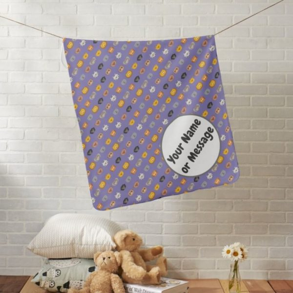 baby blanket animal friends party cute customizable purple lifestyle