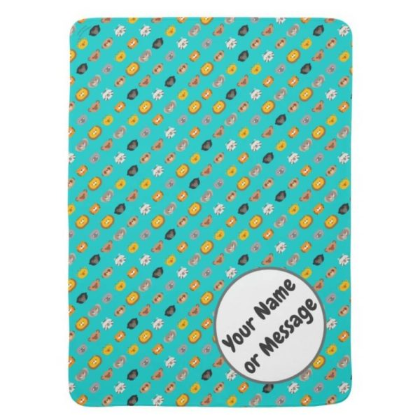 baby blanket animal friends party cute customizable teal turquoise