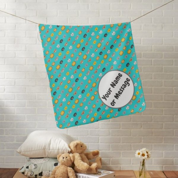 baby blanket animal friends party cute customizable teal turquoise lifestyle