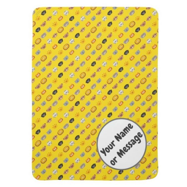 baby blanket animal friends party cute customizable yellow