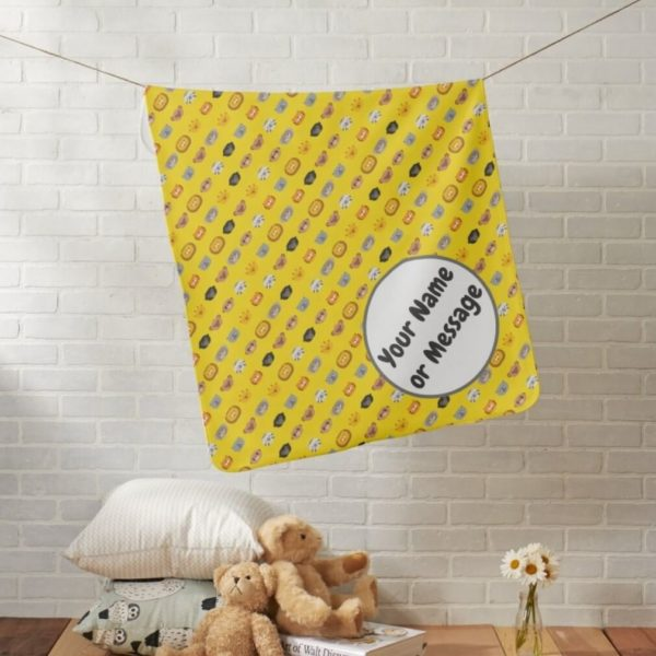 baby blanket animal friends party cute customizable yellow lifestyle