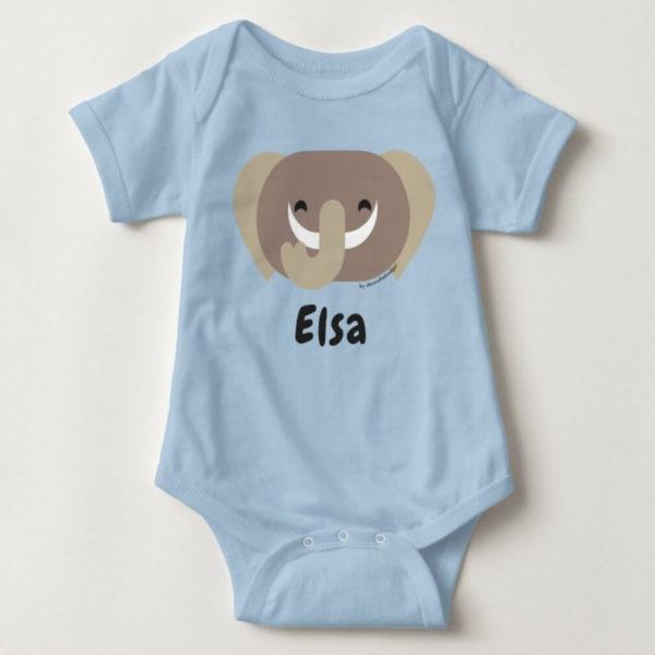 baby bodysuit elephant cute animal friends blue