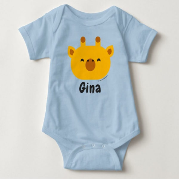 baby bodysuit giraffe cute animal friends blue
