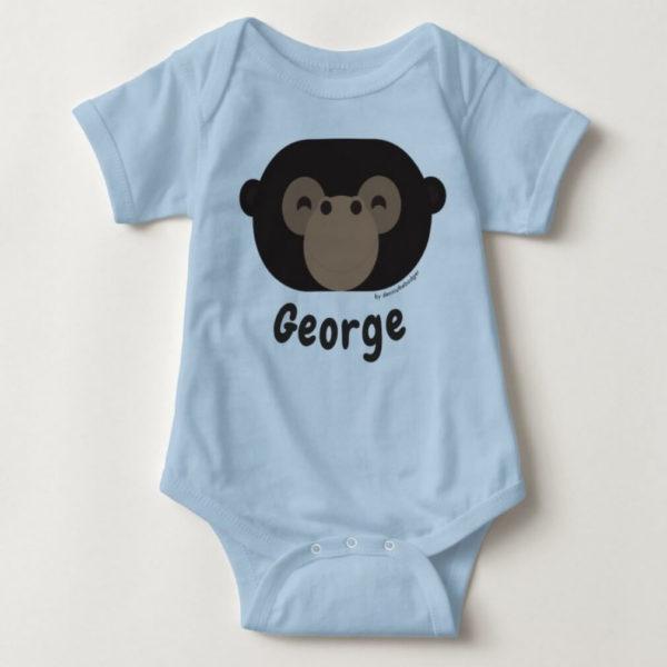 baby bodysuit gorilla cute animal friends blue
