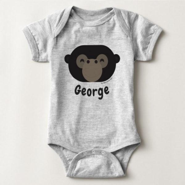 baby bodysuit gorilla cute animal friends grey