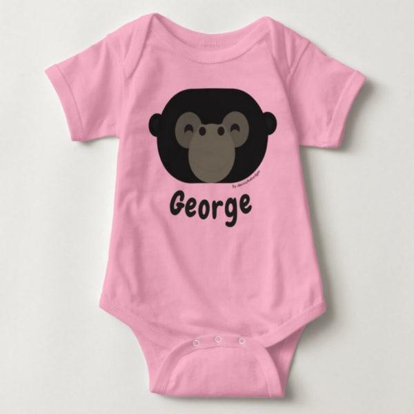 baby bodysuit gorilla cute animal friends pink