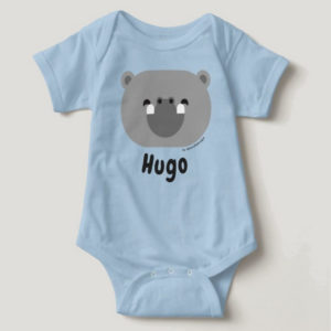 baby bodysuit hippo cute animal friends blue