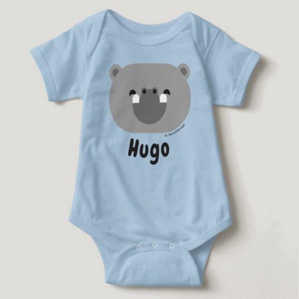 baby bodysuit hippo cute animal friends blue