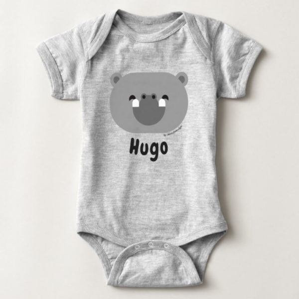 baby bodysuit hippo cute animal friends grey