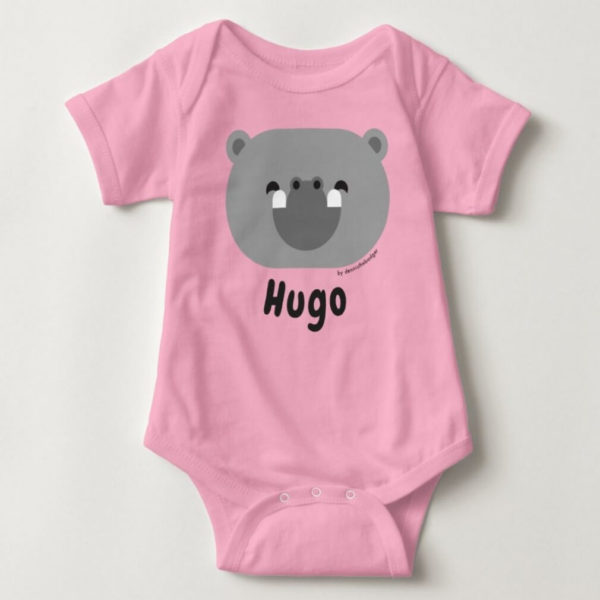 baby bodysuit hippo cute animal friends pink