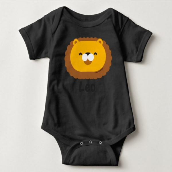 baby bodysuit lion cute animal friends black