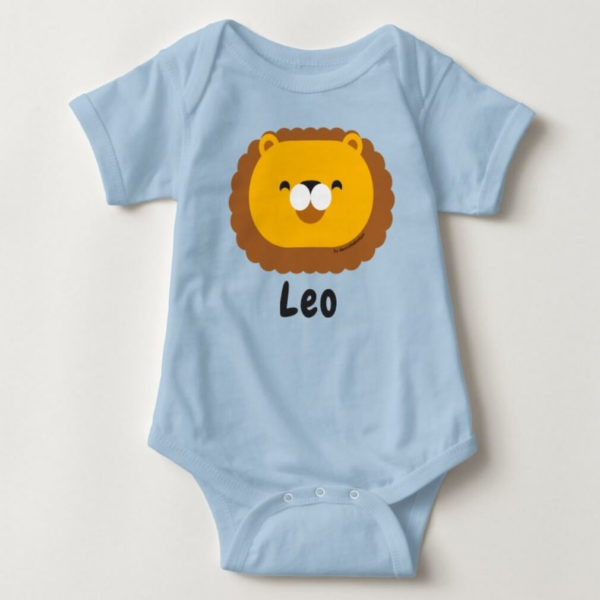 baby bodysuit lion cute animal friends blue