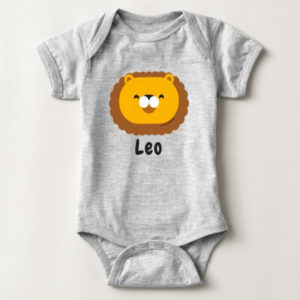 baby bodysuit lion cute animal friends grey