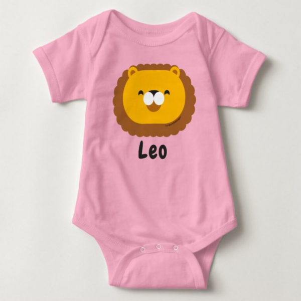 baby bodysuit lion cute animal friends pink