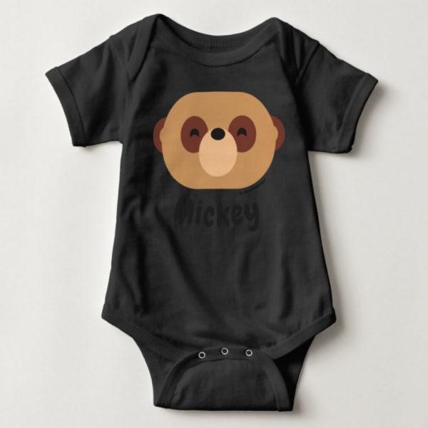 baby bodysuit meerkat cute animal friends black