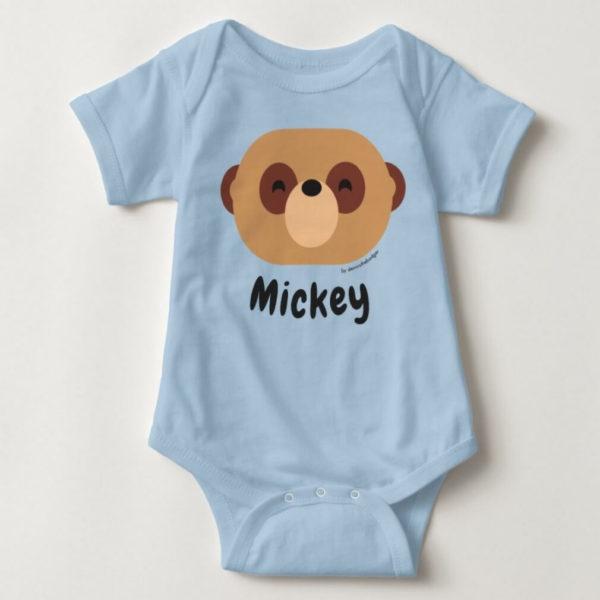 baby bodysuit meerkat cute animal friends blue