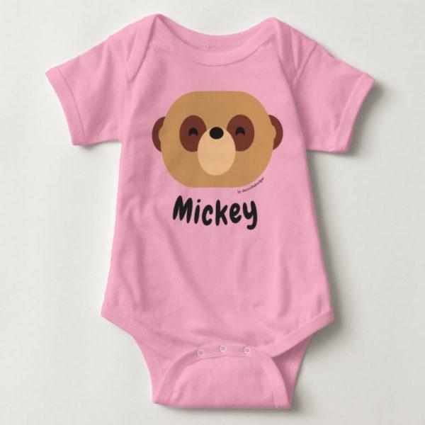 baby bodysuit meerkat cute animal friends pink
