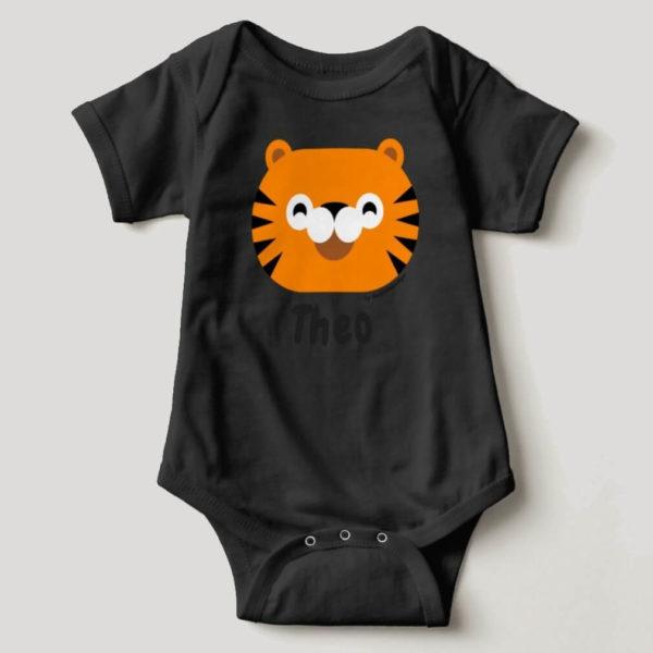 baby bodysuit tiger cute animal friends black