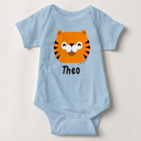 baby bodysuit tiger cute animal friends blue