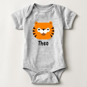 baby bodysuit tiger cute animal friends grey heather