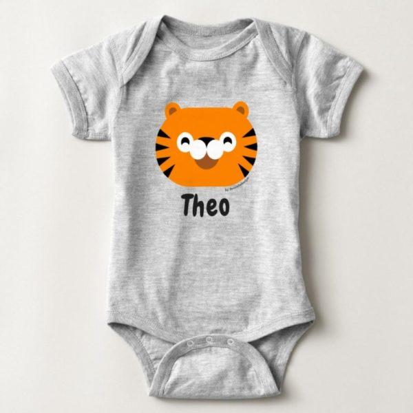 baby bodysuit tiger cute animal friends grey heather