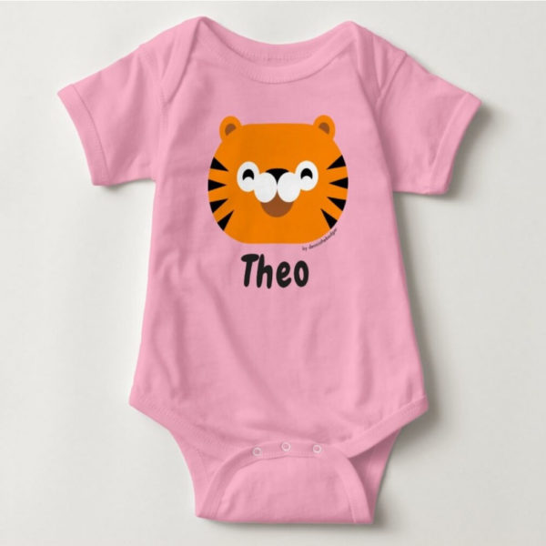 baby bodysuit tiger cute animal friends pink