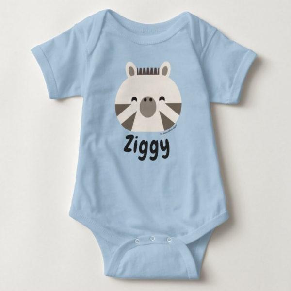 baby bodysuit zebra cute animal friends blue