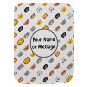 baby burp cloth jungle animal friends customizable white