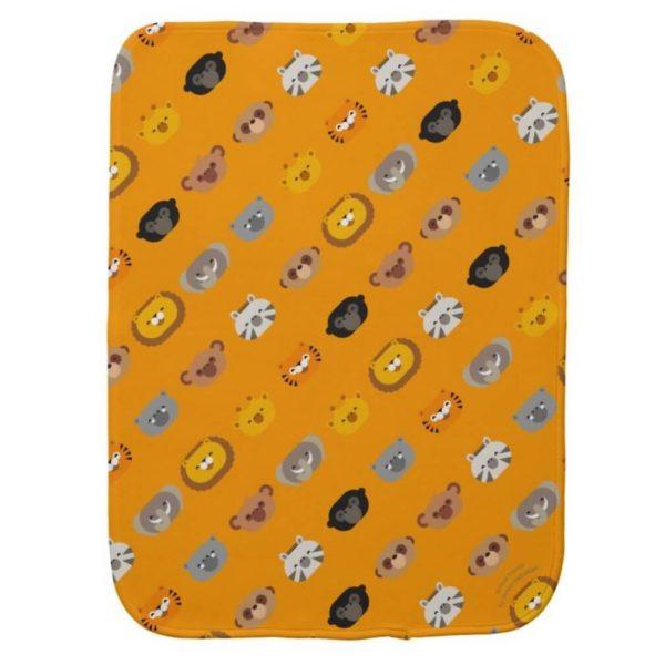 baby burp cloth jungle animal friends orange