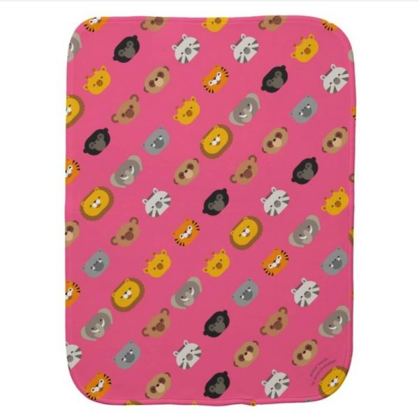 baby burp cloth jungle animal friends pink