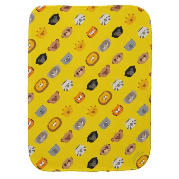 baby burp cloth jungle animal friends yellow