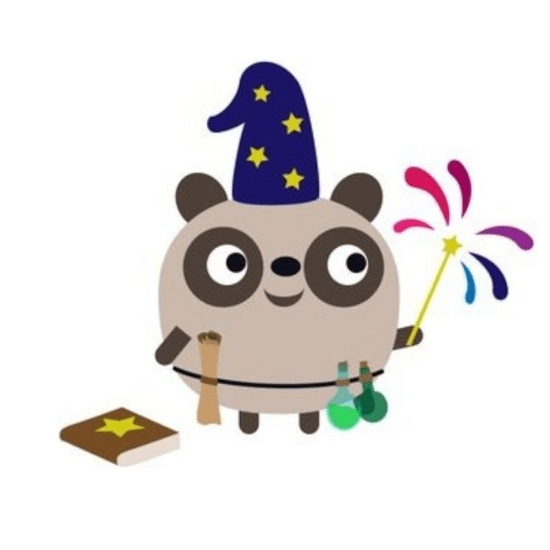 badger magician with wand and potions