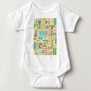 day in the jungle baby bodysuit colorful animals pattern