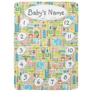 day in the jungle baby milestone blanket colorful animals pattern