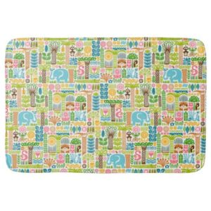 day in the jungle bath mat colorful animals pattern