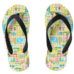 day in the jungle flipflops kids colorful animals pattern