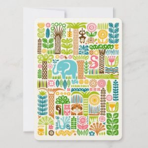 day in the jungle greeting card colorful animals pattern