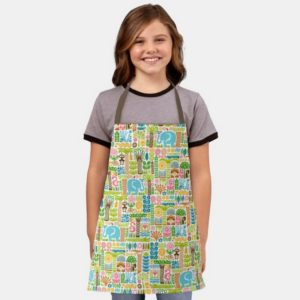 day in the jungle kids apron colorful animals pattern girl