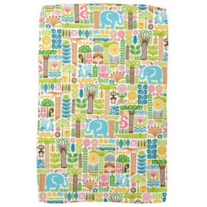 day in the jungle kitchen towel colorful animals pattern