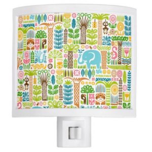 day in the jungle night light colorful animals pattern