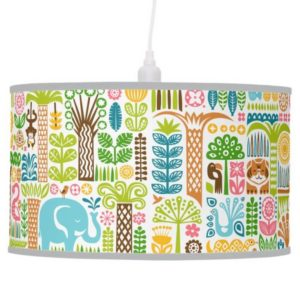 day in the jungle pendant lamp colorful animals pattern