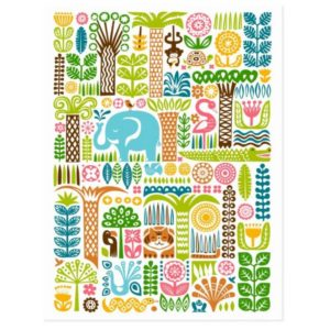 day in the jungle postcard colorful animals pattern