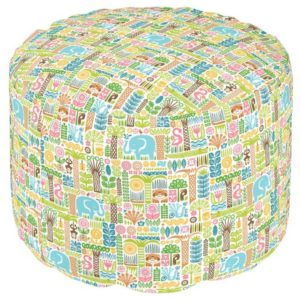day in the jungle pouf round colorful animals pattern