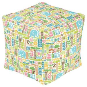 day in the jungle pouf square colorful animals pattern