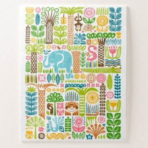 day in the jungle puzzle colorful animals pattern