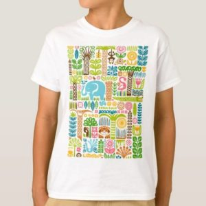 day in the jungle t-shirt kids boys basic colorful animals pattern